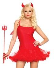 Красная Чертовка с Рожками,  Крыльями и Вилами,  костюм на Хеллоуин